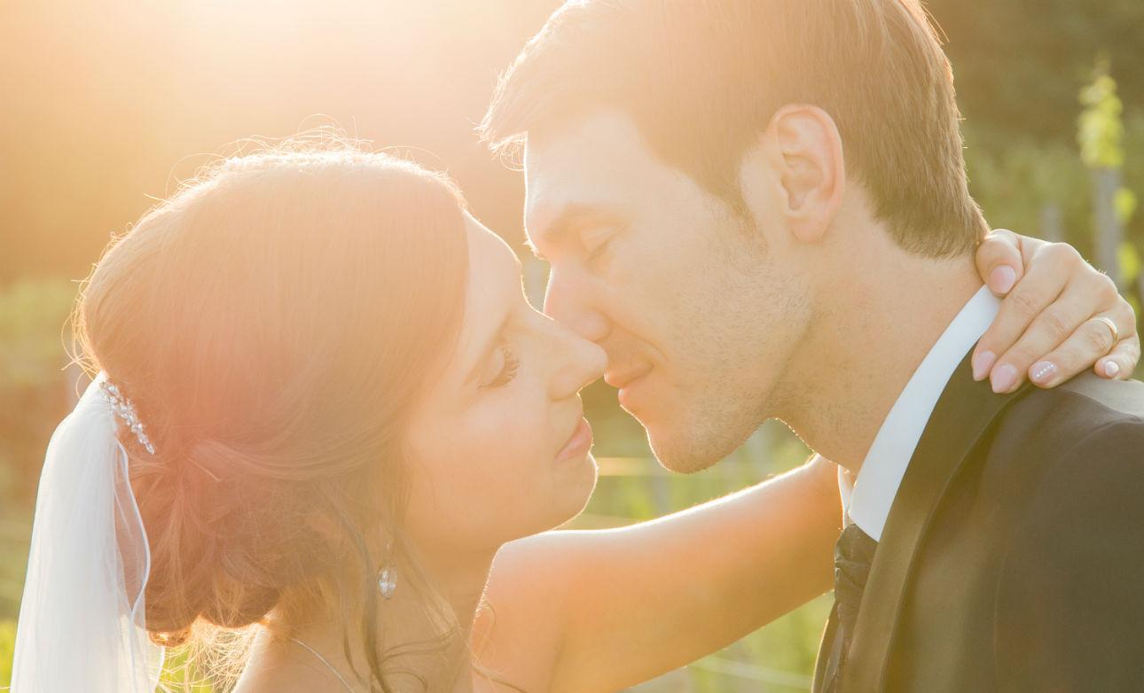 Heiraten in Mutterstadt Brautpaar Sonnenuntergang Pfalz